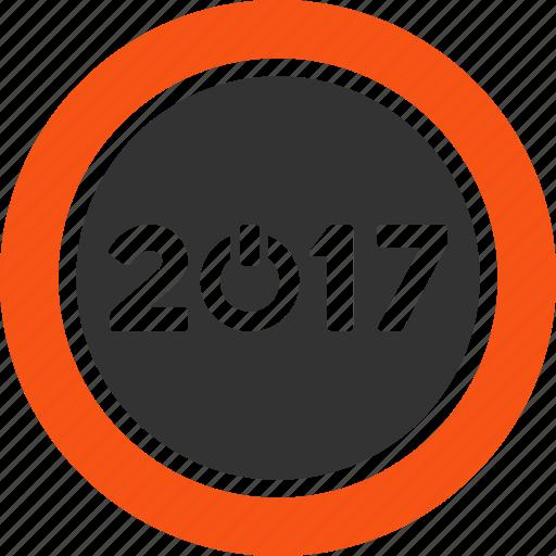 2017 year, control, power, shutdown, start button, switch, turn on icon