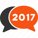 2017 year, chat, comment, communication, contact, forum, messages icon