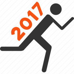 2017 year, courier, delivery, runner, running man, shipping, transportation icon