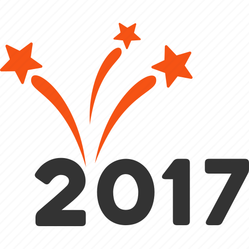 2017 year, boom, burst, explosion, fireworks, salute, sparkle icon