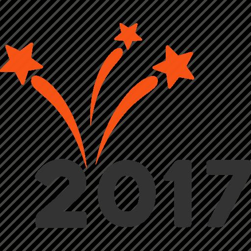 2017 year, boom, burst, explosion, fireworks, salute, sparkle icon