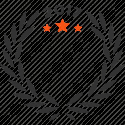 2017 year, anniversary, award logo, laurel wreath, quality, success, trophy icon