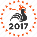 2017 symbol, chicken, cock, holiday, new year, poultry, rooster icon