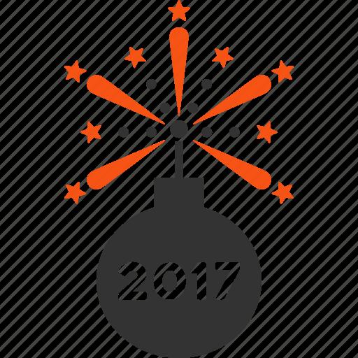 2017 year, bomb, boom, celebrate, detonator, festival salute, petard icon