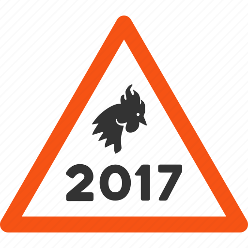 2017 year, attention, chicken, cock warning, danger, problem, rooster alert icon