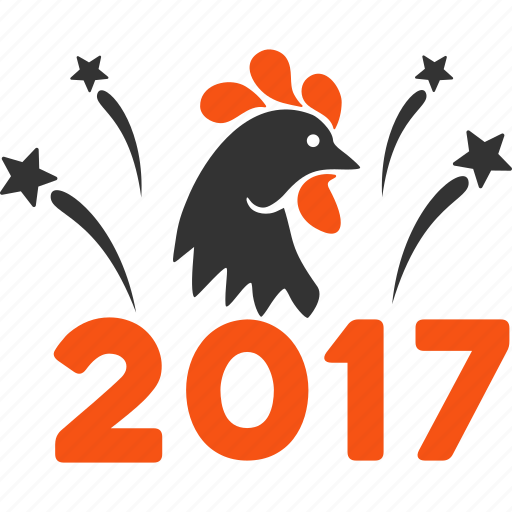 2017 year, chicken festival, fireworks, holiday celebration, poultry, rooster, silhouette icon