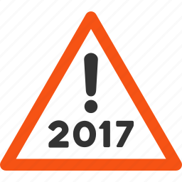 2017 year, alert, attention, danger, exclamation, safety, warning icon