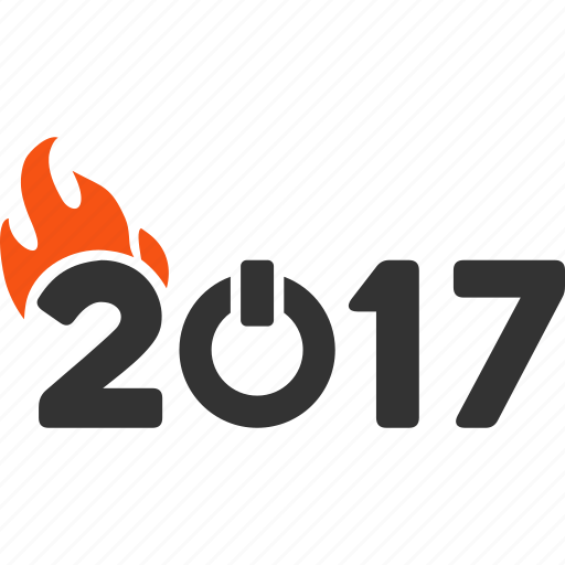 2017 year, caption, digits, fired text, flame, hot, tag icon