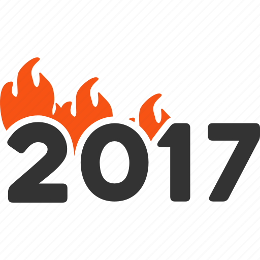 2017 year, burn letters, caption, fire, fired, hot flame, hot text icon
