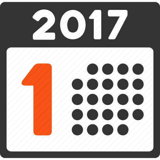 1st day, 2017 year, calendar, date, first, organizer, page icon
