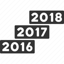 annual, calendars, from 2016, future, levels, to 2018, years icon