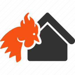 building, chicken farm, fire disaster, hot flame, insurance, realty burn, red rooster icon