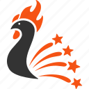 burst, colorful cock, explosion, festival fireworks, new year, rooster, sparkle salute icon