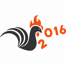 2016 year, attack, chicken, cock, cockerel, kick away, rooster icon