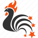 colorful cock, explosion, festival fireworks, new year, rooster, sparkle salute, sparkles icon