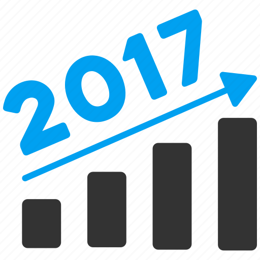 2017, bar chart, diagram, graph, report, statistics, trend icon