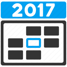 2017 calendar, appointment, date, grid, schedule, time table, week day icon