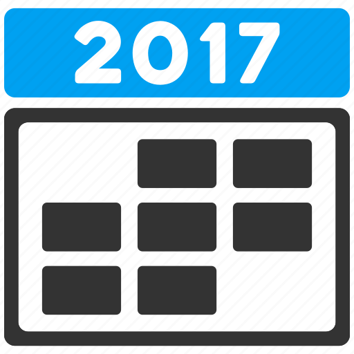 2017 calendar, appointment, grid, schedule, seven days, time table, week icon