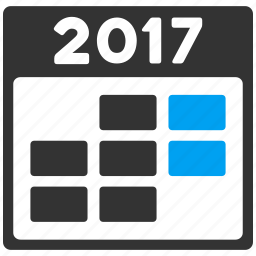 2017 year, calendar, grid, organizer, schedule, time table, week icon