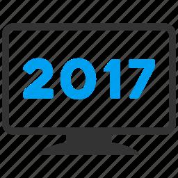 2017 year, desktop pc, display, electronic, equipment, monitor, screen icon