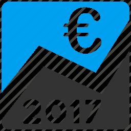 2017 year, business graph, data analysis, diagram, euro chart, financial report, statistics icon