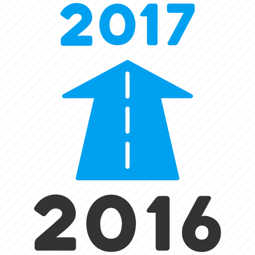 2017 year, ahead arrow, forward, future, new year, next, road icon