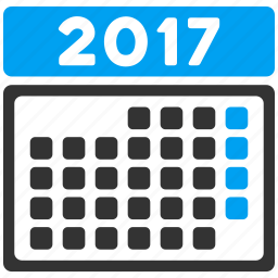 2017 calendar, appointment, grid, month, page, schedule, time table icon