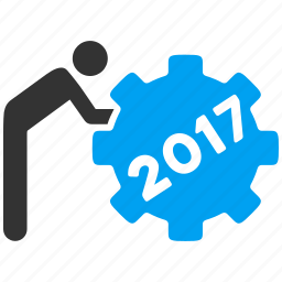 2017, business, rolling gear, task, work, worker, working person icon