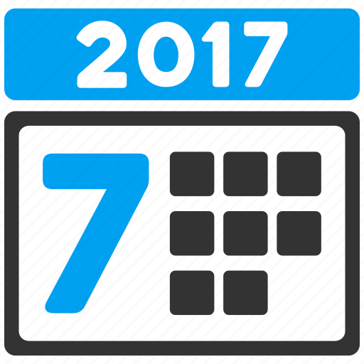 2017 year, 7th day, calendar, schedule, seven days, time table, week icon