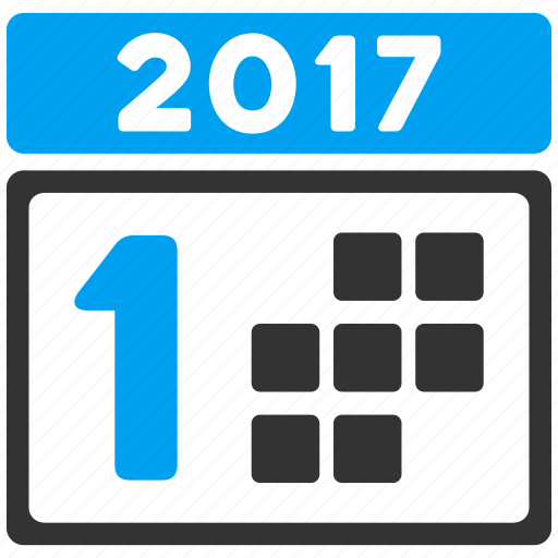 1st day, 2017 year, appointment, calendar, card, first date, schedule icon