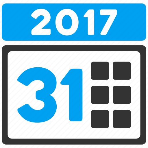 2017 year, 31st date, appointment, calendar, last day, month, schedule icon