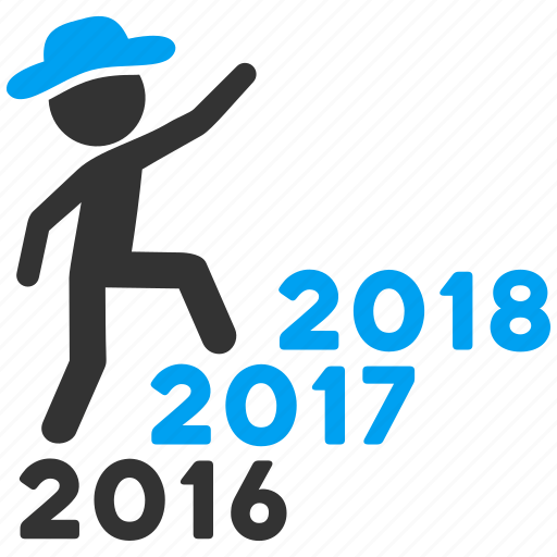 climb, from 2016, gentleman, new year, steps, to 2018, years icon