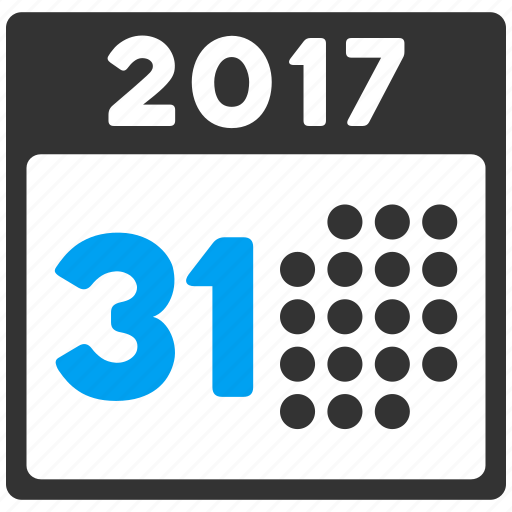 2017 year, 31 days, appointment, calendar, last day, month, schedule icon