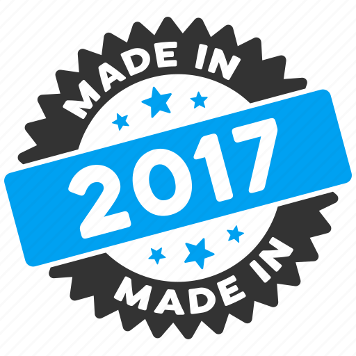 2017 year, certificate, guarantee, label, made in, round seal, rubber stamp icon