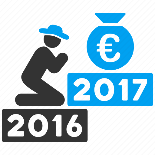2017 year, euro deposit, finance, money bag, pray, prayer, religion icon