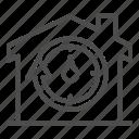 watch, arrow, minute, clock, circle, house, building