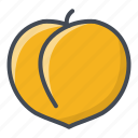 food, fruits, peach, sticker icon