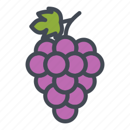 food, fruits, grape, sticker icon