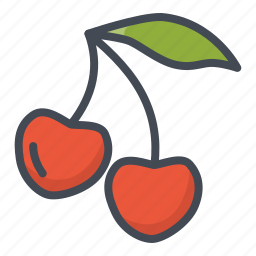 cherry, food, fruits, sticker icon