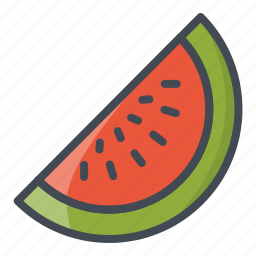 food, fruits, melon, sticker, water icon