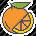 food, fruits, orange, sticker icon