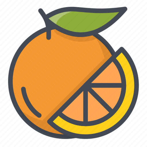 food, fruits, orange, sticker icon