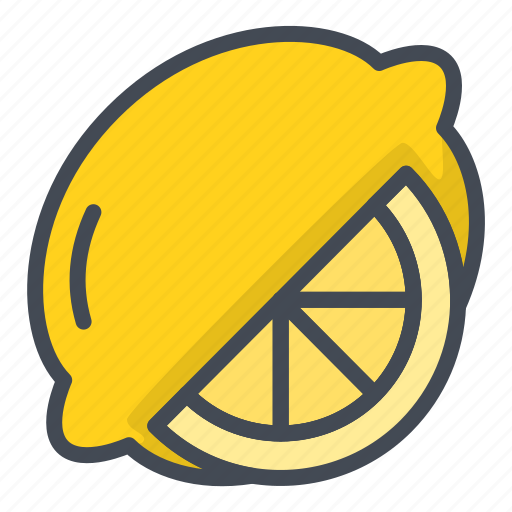 food, fruits, lemon, slice, sticker icon