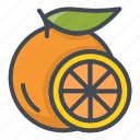 food, fruits, orange, slice, sticker icon