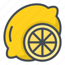 food, fruits, lemon, slice, sticker icon