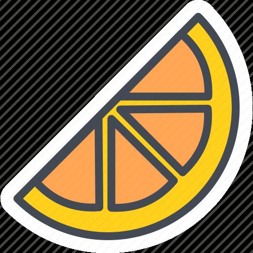 food, fruits, orange, slice, sticker icon