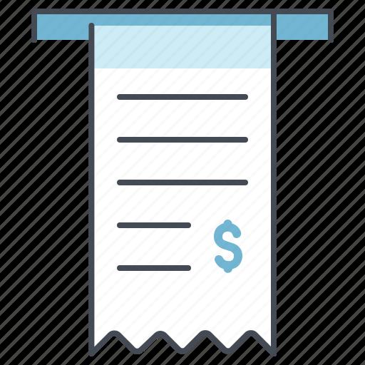 bill, dollar, economy, money, payment, receipt, transaction icon