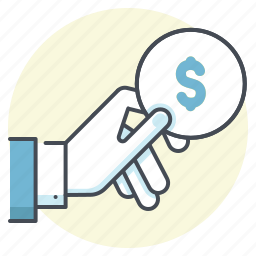 accounting, cash, coin, dollar, give, hand, money icon