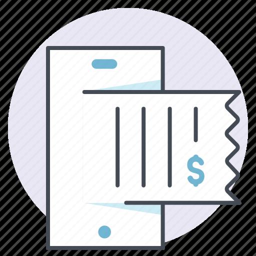 bill, cash, device, money, online, payment, receipt icon