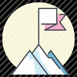 achieve, aim, climb, goal, mountain, success, target icon
